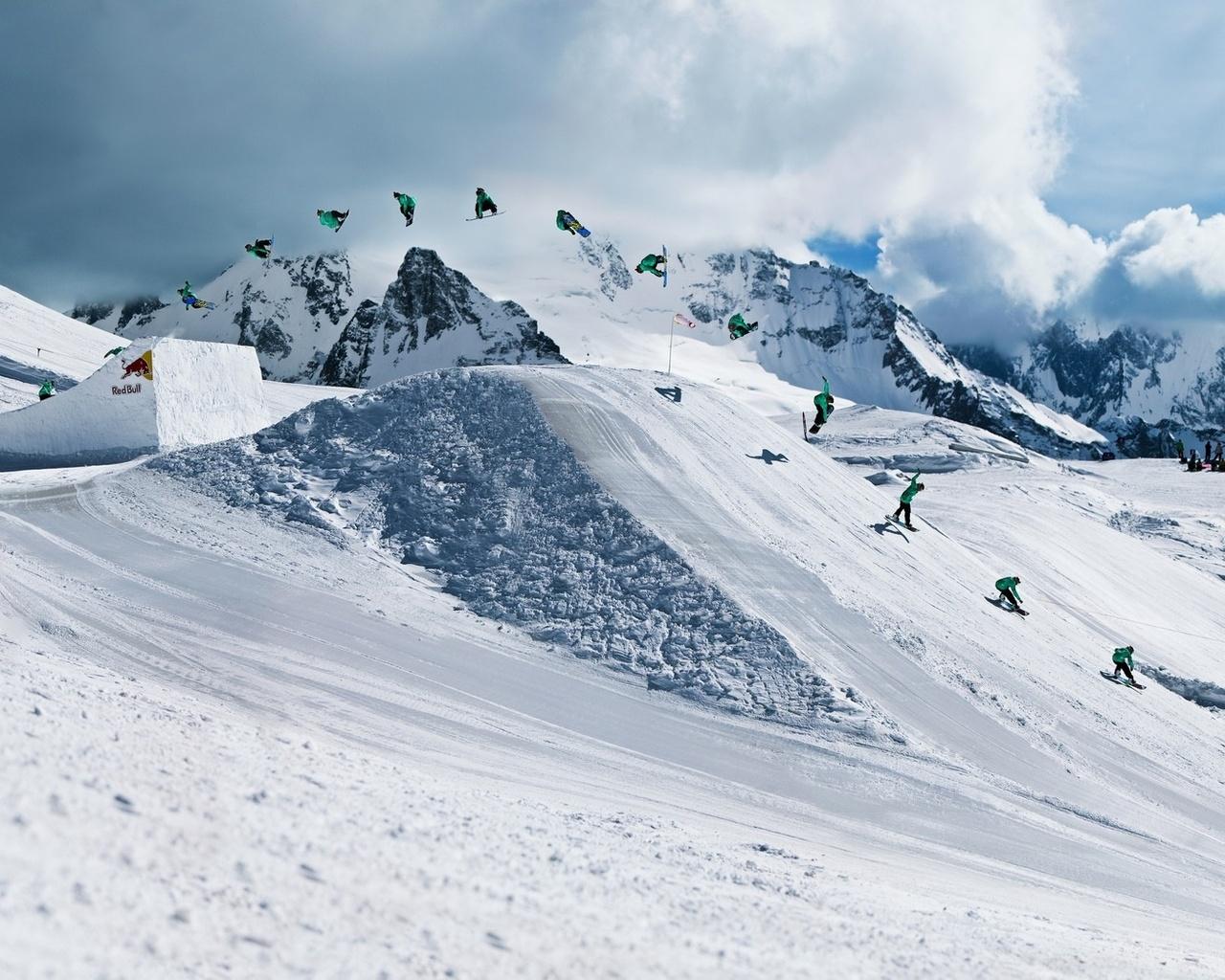 Спорт зимние сноуборд red bull трюк обои