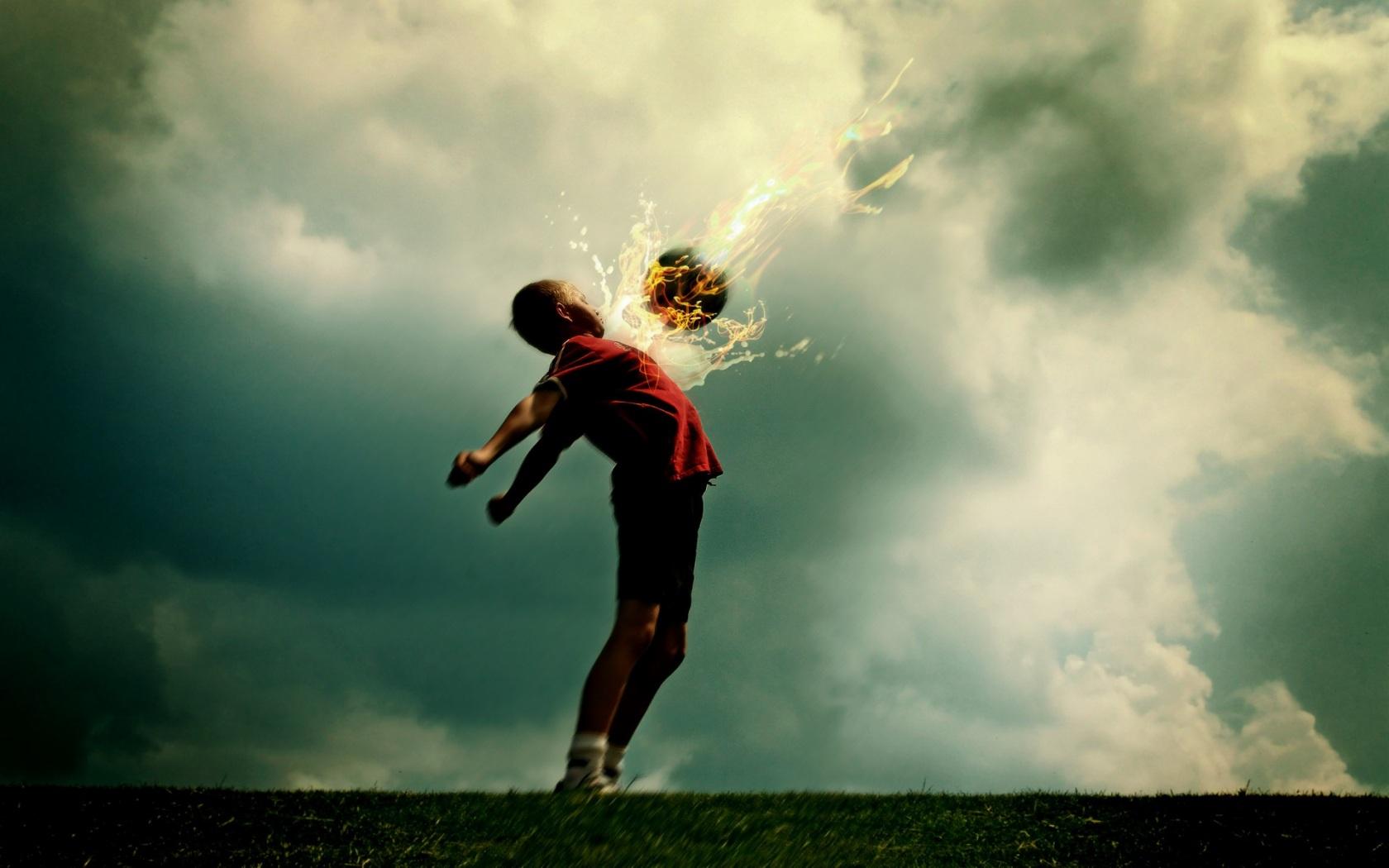 Спорт футбол огненный шар обои